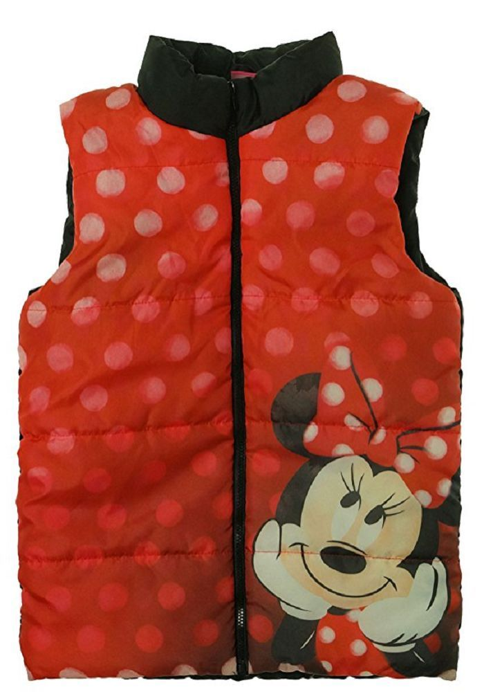 Disney Girls Character Puffer Vest, Red/Black, Size 5 - $19.79