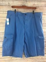 Izod Shorts 36 Mens Blue Flat Front Chinos 100% Cotton NWT T88 - $17.78