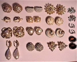 CLIP ON Lot of Vintage EARRINGS Rhinestone Gold-tone Faux Pearl Selling - $85.00