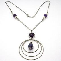 Collar Plata 925 ,Amatista Violeta, Triple Círculo Colgante, Trabajado image 1