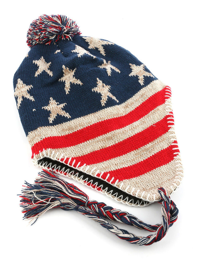 American Flag Print Pom Knit Beanie Ear Flaps Cap Winter Hat