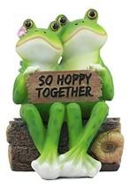 "Ebros Romantic Wedding Frog Couple Sitting On Wooden Log Statue ""So Hoppy - $26.87"