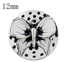 Silver Black White Butterfly 12mm Mini Petite Snap Charm For Ginger Snaps - $6.19