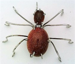 Brown Gold Stone Spider Stainless Steel Wire Wrap Brooch 4 - $28.97