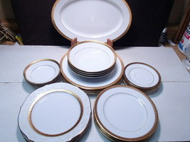 25 Piece Set Noritake Essex Gold ~ service for four  + Platter ~ - $119.99