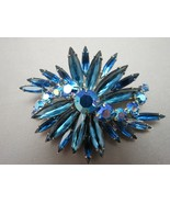 VTG Rhinestone Brooch Blue Long Navettes Round AB Flower Spray Rhodium P... - $39.59