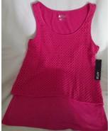 Apt 9 Ladies Layered Crop Tank Top Lge Crochet Look Sleeveless Cotton Bl... - $20.97