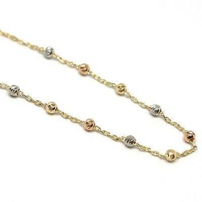 Bracelet Yellow Gold Pink White 750 18K, Rosary, cross, Medal Miraculous