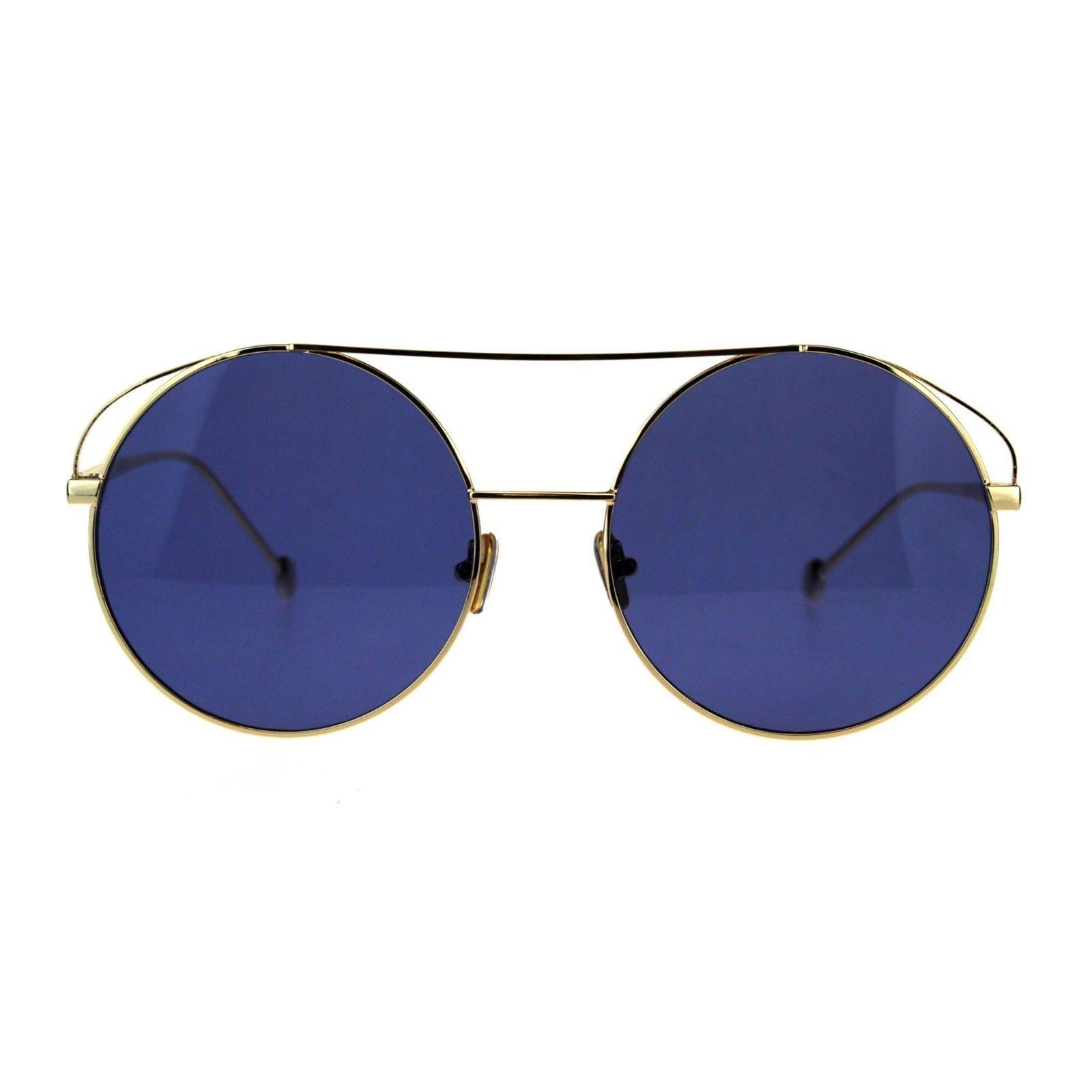 Womens Round Circle Sunglasses Double Bridge Metal Frame UV 400