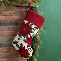 21-Inch Hooked Christmas Stocking Poinsettia Red White Fabric Hang Holid... - $38.45