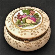 Vintage Porcelain Powder Jar Trinket Box, Fragonard Flirt Scene Romantic... - $40.00