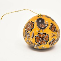 Handcrafted Carved Gourd Art Whimsical Whimsy Birds Ornament Made in Peru