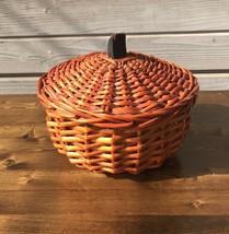 """Orange Wicker Halloween Pumpkin Basket w/ Lid Fall Decor Farmhouse  7"""" C... - $14.00"""