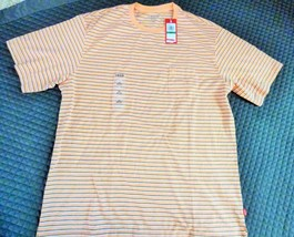 IZOD Performance man's striped pocket  crew, Shell Coral color, Size L, ... - $13.12