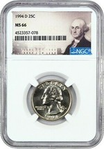 1994-D 25c NGC MS66 - Washington Quarter - $87.30