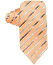John Ashford Mens Tie Orange Blue Multi Trad Pin Stripe Polyester Necktie - $19.71
