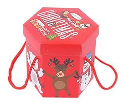 10 Pack Hexagon Christmas Eve Christmas Gift Boxes, Red Rope - $15.11