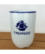 Vintage 1985 Porsgrund Norway White Blue Caravelle Sailboat Coffee Cup Mug - $20.00