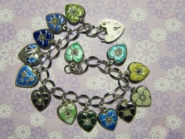 Vintage Sterling silver charm bracelet - 14 enameled puffy heart charms - $475.00