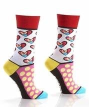 Romero Britto Woven Crew Socks Woman's Fits Size 6-10 Hearts & Dots #334349