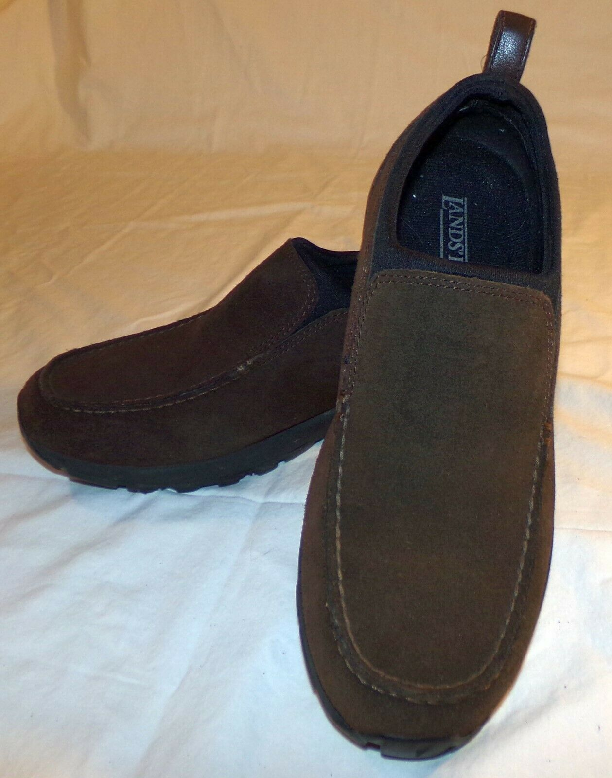 Lands End Brown Suede Slip On Shoes Womens 9 1/2 D 9.5 - $32.90