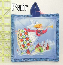 Pot Holders - Pair - Angels with Quilted Gowns & Trumpets Over Village -... - $8.00