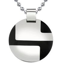 SN8116 Steel Enamel-finish Steel Ball Chain Disc Pendant  - $19.75