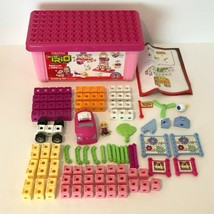 Fisher Price Trio Building Blocks Pink Storage Bin Set with Car and Girl... - $49.99