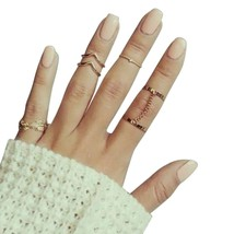 6pcs/lot Unique Adjustable Ring Set Punk Style Gold Color Knuckle Rings For Wome - $7.90