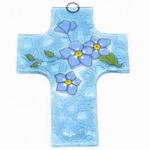"Handmade Fused Art Glass Forget Me Not Floral Flower Cross 5.5"" Sun Catcher"