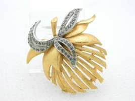 VTG FLORENZA Signed Dual Tone Clear Rhinestone Abstract Flower Pin Brooch - $74.25