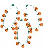 JOYIN 3 Pack Halloween Pumpkin Jack O Lantern Necklace LED Lightup Hallo... - £12.28 GBP