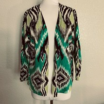 Chicos Womens Cardigan Sweater Size 2 Large Green Black Open Front Linen Blend - $18.81