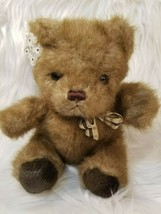 "Russ Berrie & Co Picadilly Brown Bear Plaid Bow 8"" Seated Plush - $9.63"