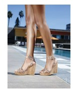 STUART WEITZMAN Annex Crackled Leather Cork Wedge Sandal  9.5 M - $67.50