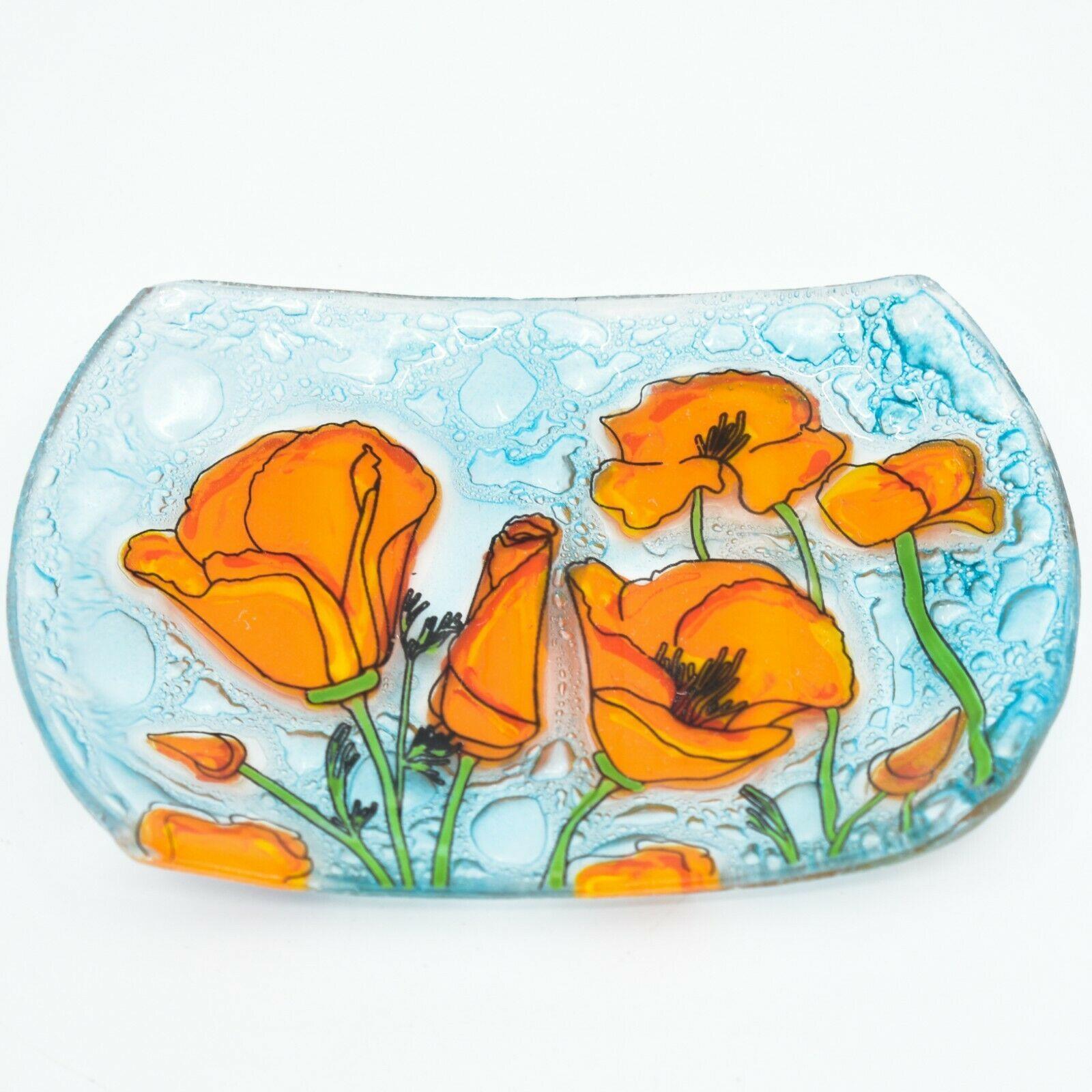 Fused Art Glass Orange Poppy Poppies Flower Design Soap Dish Handmade Ecuador