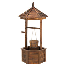 14652B  Rustic Wishing Well Wood Planter Yard Art - $183.85