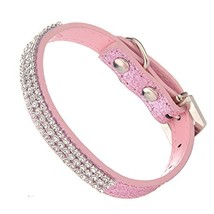 LOVPE Glitter Powder Leather Bling Crystal Cozy Dog Collar For Small Dog... - $11.32