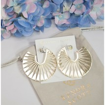 Kendra Scott Deanne Sunburst Large Gold Hoop Statement Drop Earrings NWT - $88.61