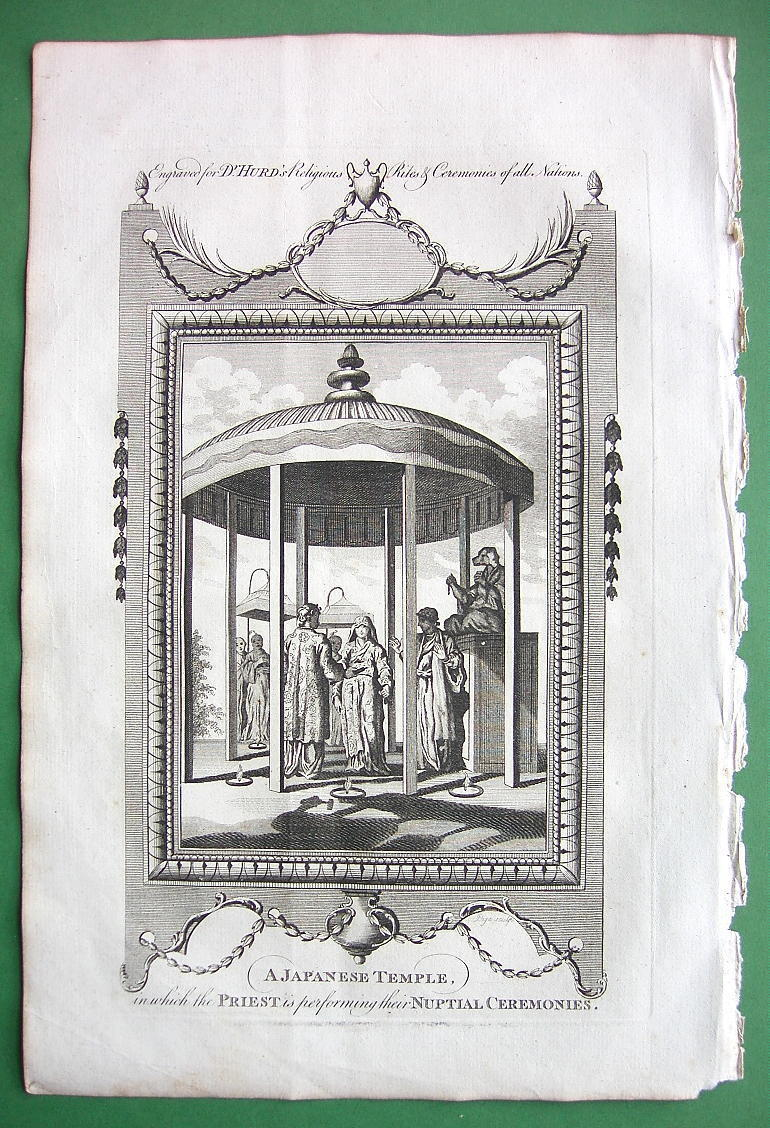 Primary image for JAPAN Nuptial Ceremony in Japanese Temple - 1780 Engraving Antique Print