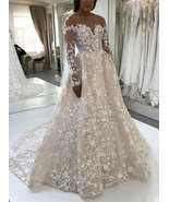 Charming A-Line Long Sleeves Champgne Wedding Dresses Bridal Dress with ... - $329.99