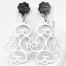 Drop Earrings Silver 925, Satin, Pattern Floral by Maria Ielpo image 1