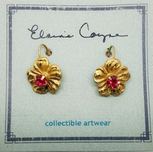 Elaine Coyne Artwear Nature Flower Earrings Pink Swarovski Crystal Lever... - $40.64