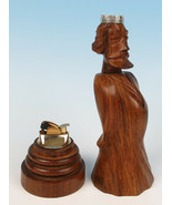 Vintage French Carved Wood KING TABLE LIGHTER Figural Chess Smoking Ciga... - $38.61