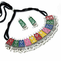 Silver Plated Meena Work Choker Necklace for Women and Girls a349 - $21.77