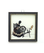 Vintage Framed Silhouette Woman Spinning Glass  - $18.00