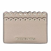 Michael Kors Scalloped Leather Card Holder Case, Truffle - $28.35