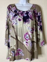 Chico's Womens Size 2 Watercolor Floral Blouse Scoop Neck 3/4 Sleeve - $18.86