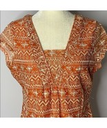 Liz Claiborne Embroidered Lace V Neck Blouse L Petite Orange Shirt Short... - $11.30