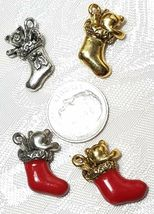 CHRISTMAS STOCKING FINE PEWTER PENDANT CHARM - 12mm L x 22mm W x 6mm D image 3